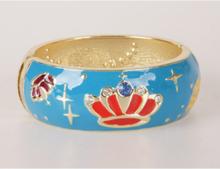 Turquoise goldtone geëmailleerde scharnier armband