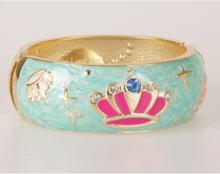 Smaragdgroene goldtone geëmailleerde scharnier armband