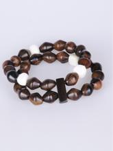 Tweevoudige hout/glazen stretch-armband