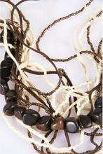 15 strings halsketting ivoor/bruin