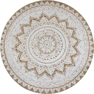 Teppe i flettet jute med trykk rund form -150 cm