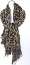 Gele omslagdoek/sjaal met geweven luipaard patroon