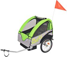 vidaXL Cykelvagn för barn grå och grön 30 kg