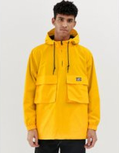 Obey Inlet overhead anorak jacket with reflective back logo in yellow - Yellow
