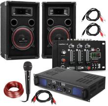 """DJ PA Set """"DJ-14"""" BT, PA-förstärkare, BT-mixer, 2x högtalare, karaoke-mick"""