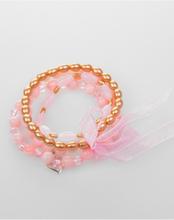 4 string's armbandje van roze en goudkleurige kraaltjes met strik