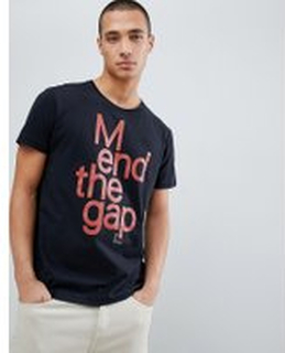 Nudie Jeans Co Anders mend the gap organic cotton t-shirt in black - Black