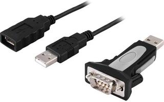 DELTACO USB till seriell adapter RS-232 DB9ha, kabel+adapter