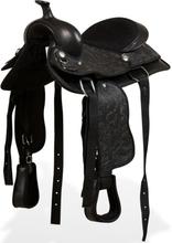 """vidaXL westernsadel hovedtøj og brystkrave ægte læder 12"""" sort"""
