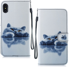 iPhone Xs Max beskyttelses deksel av syntetisk skinn med printet mønster - lat katt
