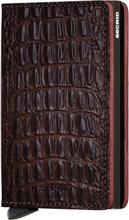 Secrid Slimwallet Croco liten plånbok i skinn och metall, Brun