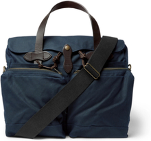 Leather-trimmed Waxed Cotton-canvas Briefcase - Navy