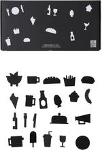 Design Letters - Food Icons Till Opslagstavle 21 Delar, Sort