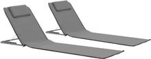 vidaXL Hopfällbara strandmattor 2 st stål och tyg grå
