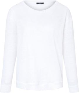 Rundhalsad topp lång ärm i 100% linne från ZAIDA vit
