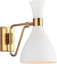Joan 1 Væglampe H27,3 cm 1 x E27 - Hvid/Brændt messing