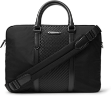 Nylon And Pelle Tessuta Leather Briefcase - Black