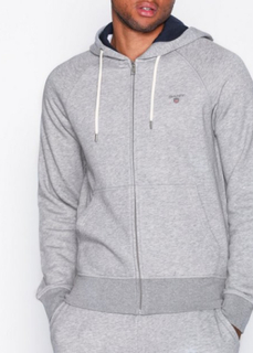 Gant Gant Original Full Zip Sweat Hoodie Gensere Grey Melange