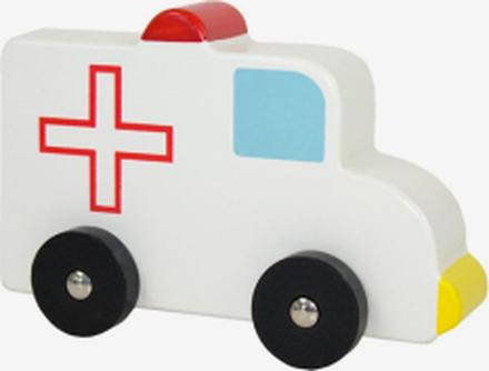 Träbil ambulans, vit/röd