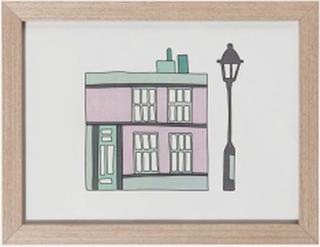 Village barntavla hus, pastellila/mint