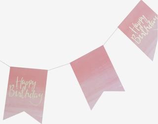 Vimpel Happy Birthday, rosa/guld
