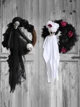 1 STÜCK Halloween Kranz Scary Black Weiße Schädel Rose Dekorative Hängende Ornament Für Home Party Indoor Outdoor