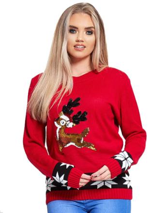 Rød Strikket Julegenser med Bambi-Motiv i Paljetter