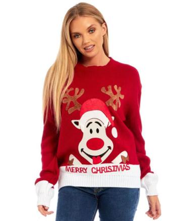 Santas Reindeer - Rød Strikket Julegenser med Mykt Motiv