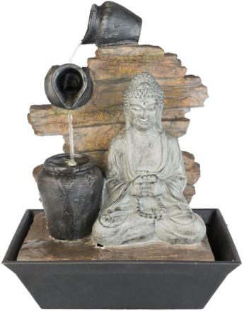 Fontene med LED-lys, Sittende Buddha og Krukker 40 cm