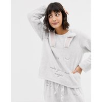 Oysho rabbit fleece sleep top in grey - Grey