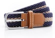 Two colour stripe braid stretch belt Navy/Khaki