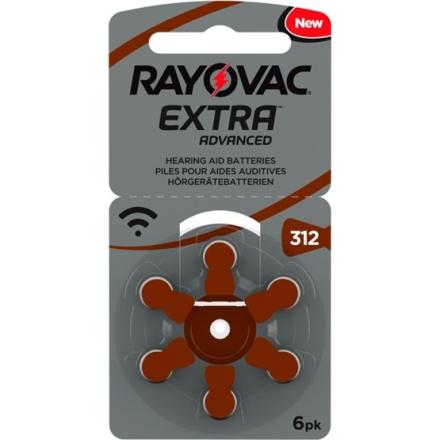 Rayovac EXTRA Advanced 312 BRUN 6 st