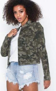 Noisy May Nmdebra L/S Aop Camo Denim Jacket 3 Jeansjackor