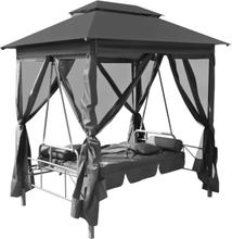 vidaXL Hammock med tak stål antracit 220x160x240 cm