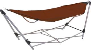 vidaXL hængekøje med foldbart stativ brun