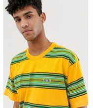 Obey Route Fairtrade cotton retro stripe t-shirt in yellow - Yellow