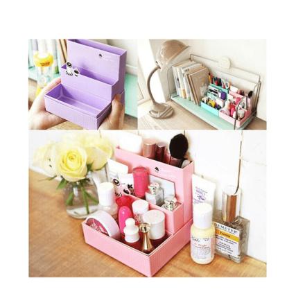 Organiserare till skrivbord eller sminkbord rosa