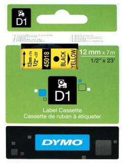 Dymo D1-merketape 12 mm Gul