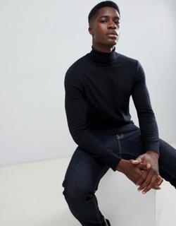 Burton Menswear roll neck jumper in black