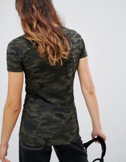 Dis T-shirt i camouflagemønster fra Brave Soul-Grøn