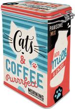 Kaffeburk med knäpplock Cats & Coffee