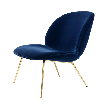 Gubi - Beetle Lounge Chair, Messing/ Velluto Cotone 420