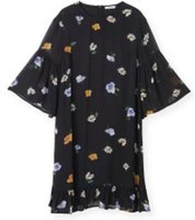 Sort Ganni Ganni Dainty Georgette Mini Dress Kjoler