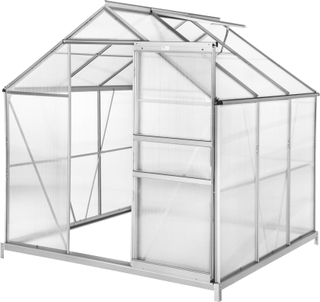 Tectake Växthus Aluminium/polykarbonat Med Fundament - 190 X 18 Transparent