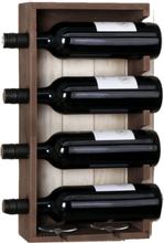 Vinställ trä för 4 flaskor brunt