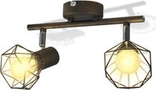 vidaXL Taklampa industri-design spotlights med 2 LED-glödlampor svart