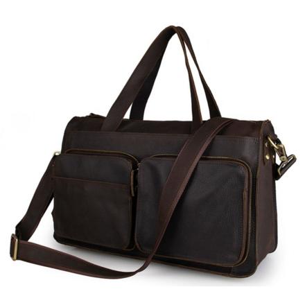 Brun Lædertaske med Dobbeltlommer