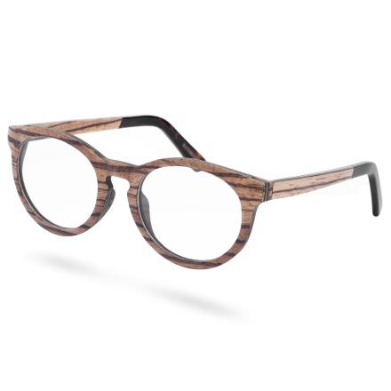 Kilpikonnakuvioiset puukehyksiset silmälasit kirkkailla linsseillä