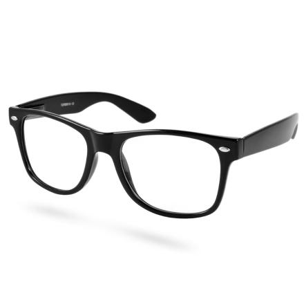 Sorte Retro Briller Med Klart Glas