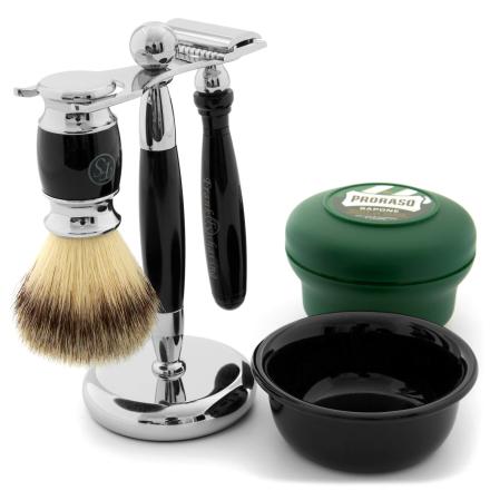Sort Lakeret Barbersæt